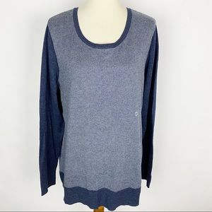 EDDIE BAUER Denim Blue Round Neck 2-Tone Sweater